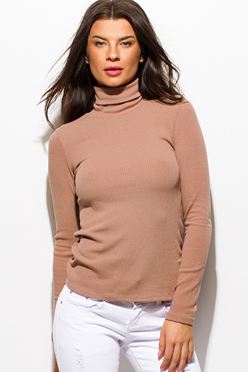 $15 - Cute cheap clothes - taupe blush pink ribbed knit long sleeve turtleneck top