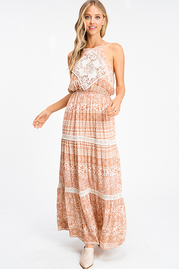 $30 - Cute cheap dress sale - Taupe brown abstract ethnic print crochet lace trim boho tiered maxi sun dress
