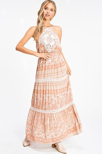 $18 - Cute cheap ruffle maxi dress - Taupe brown abstract ethnic print crochet lace trim boho tiered maxi sun dress