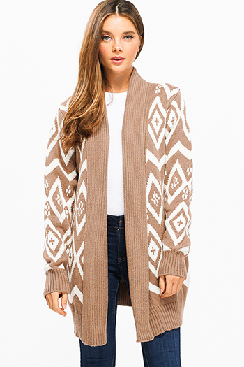 $25 - Cute cheap print boho fringe cardigan - taupe brown chevron ethnic print thick knit open front duster boho sweater cardigan