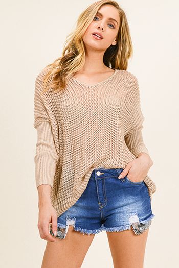$20 - Cute cheap v neck blouse - Taupe brown crochet knit v neck fitted long dolman sleeve boho sweater top