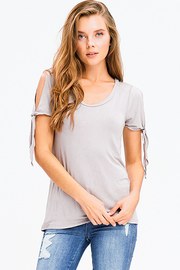 $15 - Cute cheap taupe brown cut out tie short sleeve scoop neck boho top