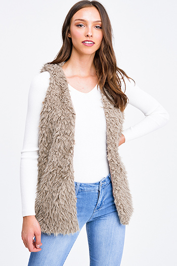 $25 - Cute cheap black long sleeve exposed stitch pocketed open front sweater cardigan - Taupe brown faux fur fleece open front sexy party vest top