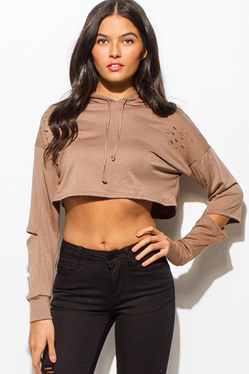 $15 - Cute cheap lace slit crop top - taupe brown laser cut distressed long sleeve elbow cut out hooded sweatshirt crop top