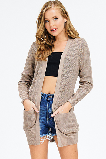 $20 - Cute cheap stone gray faux suede long sleeve waterfall draped open front tie waisted duster cardigan - taupe brown waffle knit long sleeve open front pocketed boho sweater cardigan