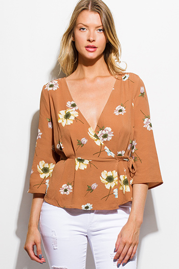 $20 - Cute cheap satin high neck top - taupe floral print wrap front v neck half bell sleeve boho blouse top