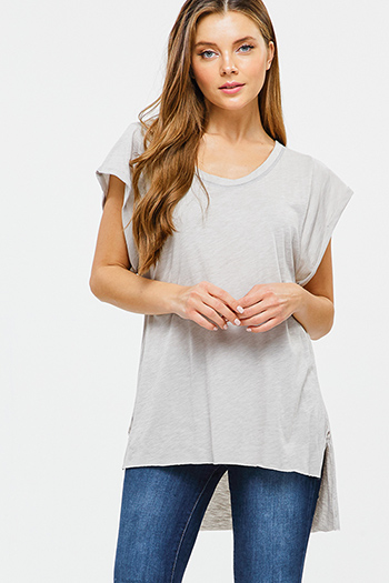 $15 - Cute cheap black pinstripe collarless short cuffed cap sleeve zip up blouse top - Taupe grey cuffed short sleeve scoop neck high low hem boho top