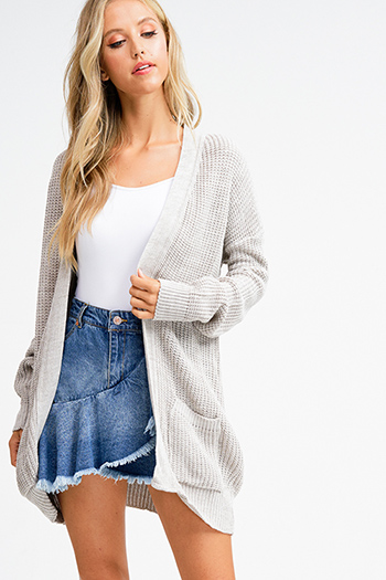 $15 - Cute cheap ivory white cotton denim long sleeve zip up biker moto jacket - Taupe grey sweater knit long sleeve open front boho duster cardigan