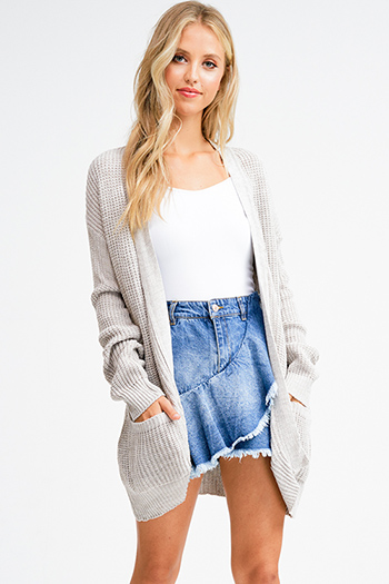 fa65a8d75d wholesale womens Taupe grey sweater knit long sleeve open front boho duster  cardigan
