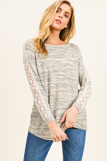 $15 - Cute cheap print chiffon boho top - Taupe grey two tone round neck crochet lace trim long sleeve boho sweater knit top