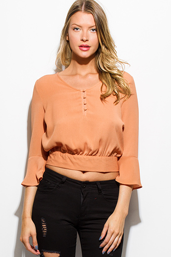 $15 - Cute cheap peach pink draped low cowl neck quarter sleeve knit tunic top - taupe peach quarter bell sleeve waist bow tie back boho crop blouse top