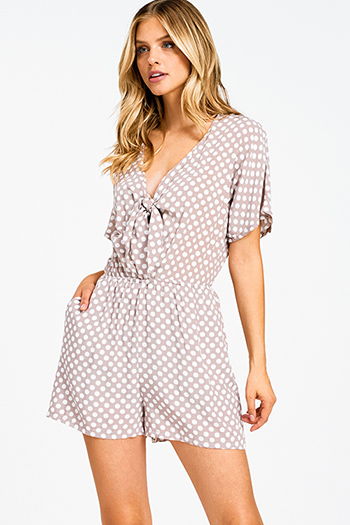 $15 - Cute cheap print boho wrap top - Taupe polka dot print short sleeve cut out tie front pocketed boho romper jumpsuit