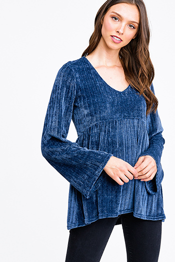 $12.00 - Cute cheap brown plaid print flannel long sleeve frayed hem button up blouse tunic top - Teal blue chenille knit long bell sleeve v neck babydoll boho blouse top