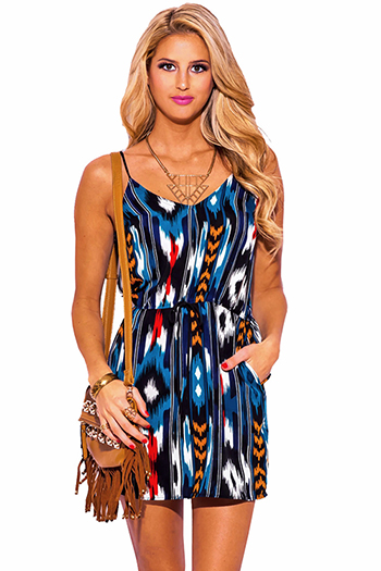 $25 - Cute cheap blue boho mini dress - teal blue ethnic print spaghetti strap pocketed boho mini sun dress