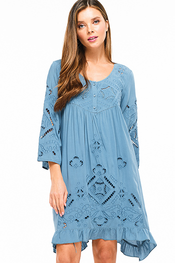 $20 - Cute cheap blue chambray mini dress - Teal blue laser cut embroidered bell sleeve laceup tie back ruffled boho resort midi dress