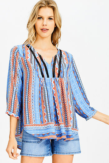$15 - Cute cheap blue pinstripe rose patch ruffle tiered strapless boho tunic top - teal blue multicolor abstract ethnic print indian collar boho peasant blouse top