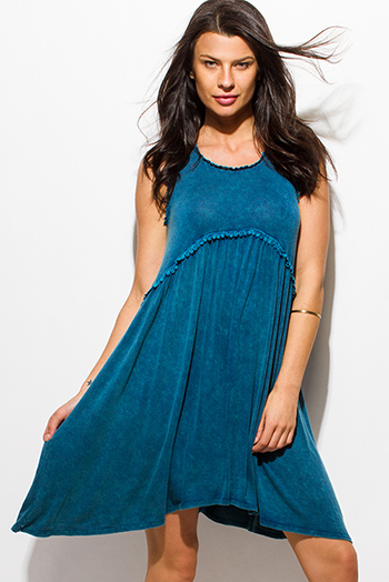$15 - Cute cheap pocketed fitted mini dress - teal blue sleeveless acid minderal wash scallop lace trim boho mini dress