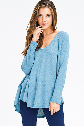$15 - Cute cheap stripe asymmetrical boho top - teal blue thermal knit v neck long sleeve boho top