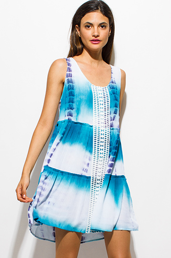 $15 - Cute cheap draped open back dress - teal blue tie dye rayon gauze sleeveless tiered boho swing mini dress