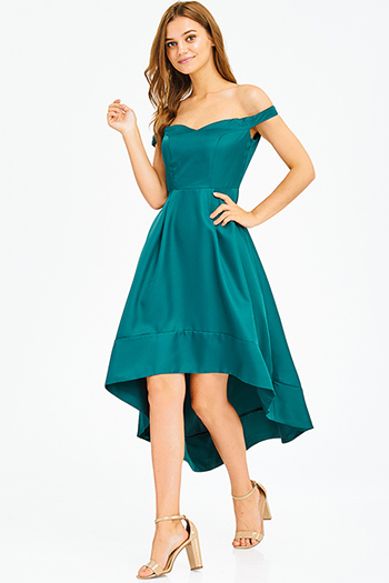 $20 - Cute cheap ribbed fitted sexy party skirt - teal green sweetheart neck off shoulder high low hem formal gown evening party dress