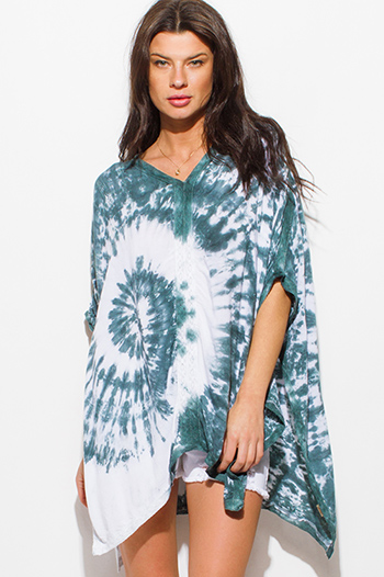 $15 - Cute cheap teal green tropical palm print waisted tie beach cover up sarong skirt - teal stone gray tie dye kimono kaftan boho beach cover up top