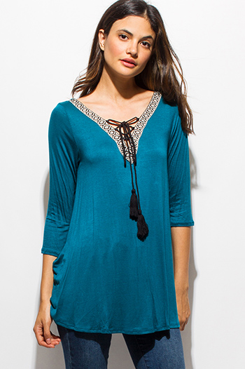 $10 - Cute cheap blue tie dye cotton gauze crochet lace off shoulder long bell sleeve boho top - teal turquoise blue embroidered tassel tie quarter sleeve boho top