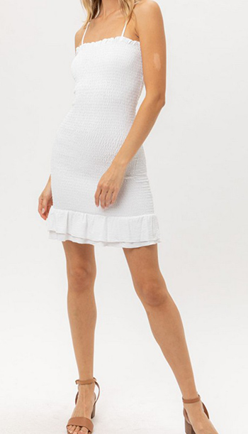 $24.50 - Cute cheap shirring strapless rayon spandex knit mini dress - textured blouse dress top with front tie.