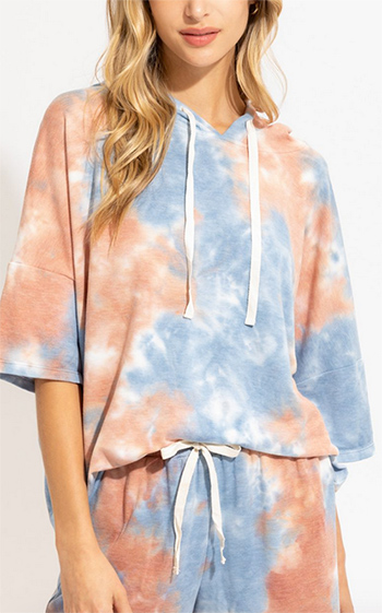 $17.00 - Cute cheap tie dye hoodie with 3 quarter sleeve Jacket