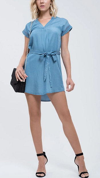 $25.50 - Cute cheap shirring strapless rayon spandex knit mini dress - tie front chambray mini dress