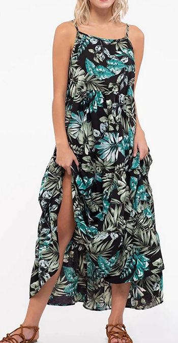 $42.00 - Cute cheap tropical print tiered style maxi dress
