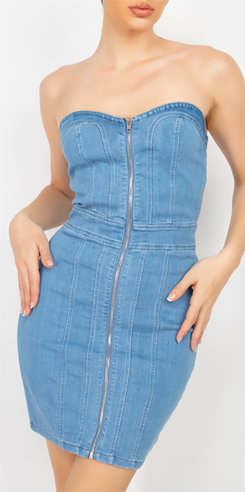 $24.50 - Cute cheap butterfly ruched open back mini dress - Tube Top Cinched Denim Dress