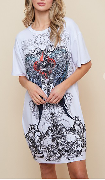 $24.50 - Cute cheap Tunic Dress With Authentic Tattoo Wing Sublimation Print