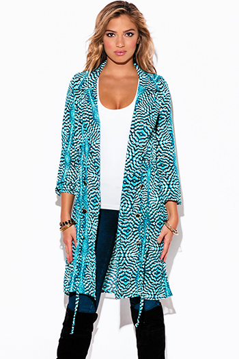 $20 - Cute cheap navy blue tie dye bow print button up sashed quarter sleeve mini shirt dress - turquoise blue peacock print chiffon blouson sleeve semi sheer double breasted trench coat dress