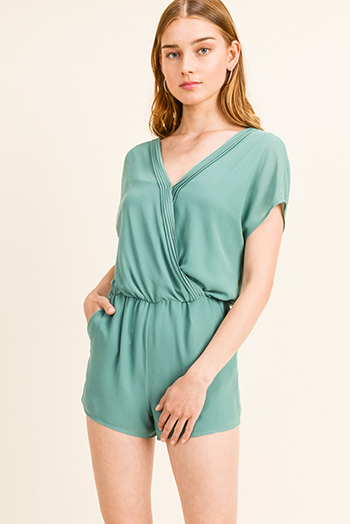 $20 - Cute cheap lace crochet romper - Turquoise green chiffon pleated surplice v neck short sleeve resort pocketed romper