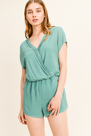 $15 - Cute cheap v neck slit jumpsuit - Turquoise green chiffon pleated surplice v neck short sleeve resort pocketed romper