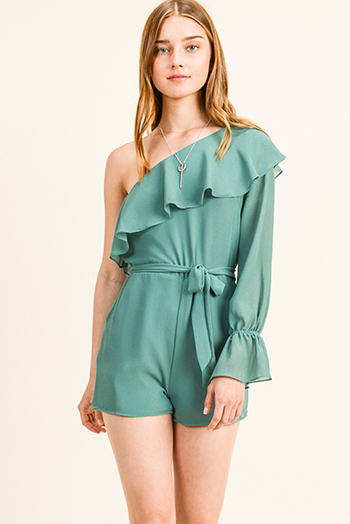 $20 - Cute cheap stone gray long sleeve exposed stitch zip up hooded pocketed boho jacket top - Turquoise green chiffon ruffled one shoulder long bell sleeve pocketed evening romper jumpsuit