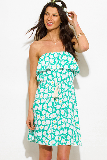 $15 - Cute cheap print crochet dress - turquoise green floral daisy print ruffle strapless tassel waist tie boho mini sun dress