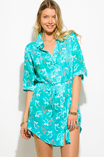 $15 - Cute cheap print slit formal dress - turquoise green tie dye bow print button up sashed quarter sleeve mini shirt dress