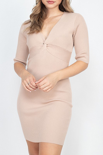 $19.75 - Cute cheap pink boho mini dress - twist knot knit dress