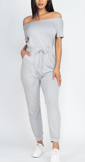 $18.75 - Cute cheap two-way shoulder drawstring jumpsuit