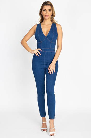 $27.50 - Cute cheap v neck bodycon tank sexy club dress - v neck denims kinny jumpsuit