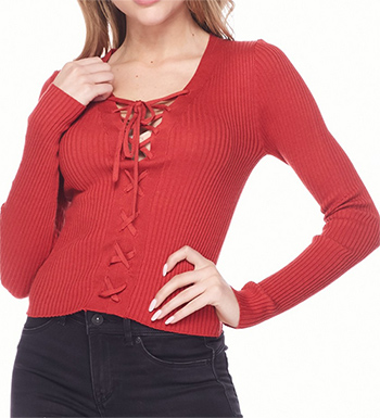 $15.00 - Cute cheap red long sleeve tunic - v neck long sleeve sweaer
