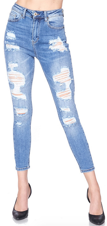 $25.25 - Cute cheap vintage inspired destructed ankle skinny