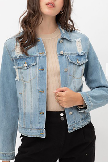 $24 - Cute cheap fall - vintage inspired ripped cotton crop denim jacket
