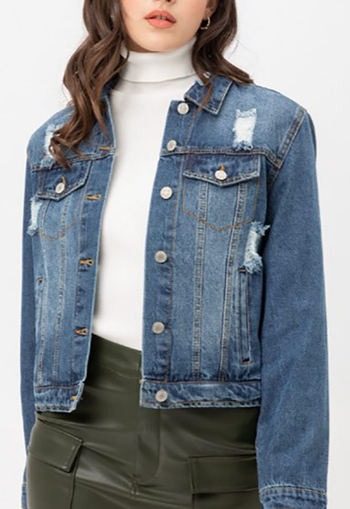 $24.00 - Cute cheap top - vintage inspired ripped cotton crop denim jacket