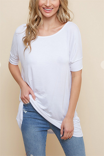$10.50 - Cute cheap viscose rayon spandex dolman short sleeve top