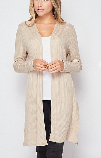 $13.00 - Cute cheap jacket - waffle knit duster cardigan