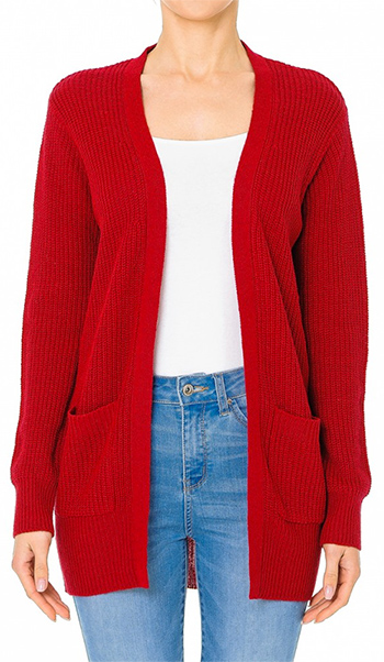 $22 - Cute cheap red long sleeve tunic - waffle knit long sleeve open front pocketed boho sweater cardigan