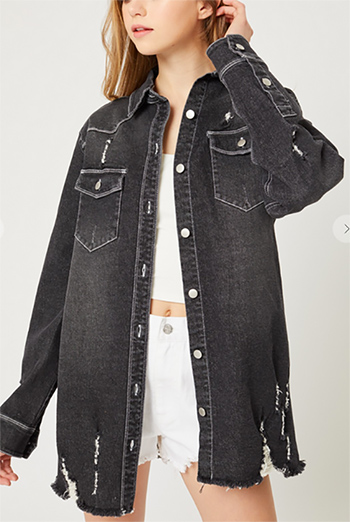 $22.50 - Cute cheap top - washed distressed denim long jacket