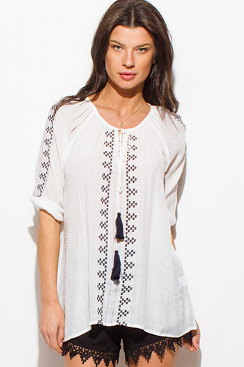 $15 - Cute cheap white boho top - white and black embroidered rayon gauze quarter sleeve tassel tie boho peasant top